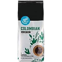 Amazon Brand Happy Belly Colombian Ground Coffee, Medium Roast, 32 Oz