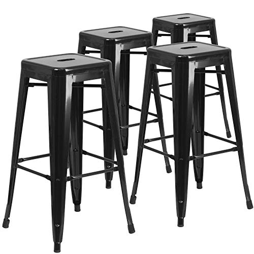 """Flash Furniture 4 Pack Commercial Grade 30"""" High Backless Black Metal Indoor-Outdoor Barstool with Square Seat"""
