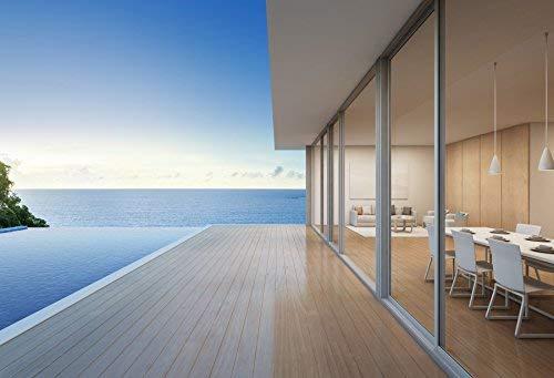 MMPTn Beach House Fotografie Hintergrund 7x5ft Meerblick Swimmingpool Modernes Design Ferienhaus Große Familie 3D-Rendering Wohnhotel Architektur Penthouse Türfenster