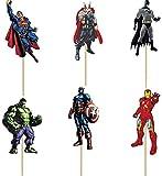 48 pcs Superhero Avengers Cupcake Toppers for...
