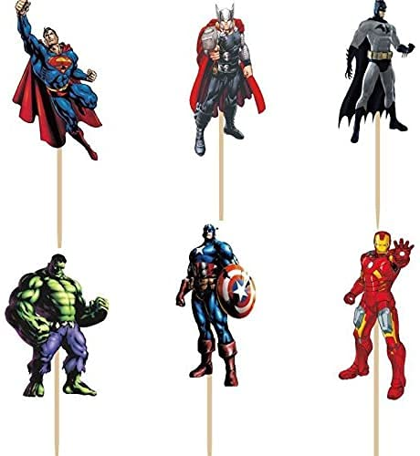 48 pcs Superhero Avengers Cupcake Toppers for Kids Boys Birthday Party...