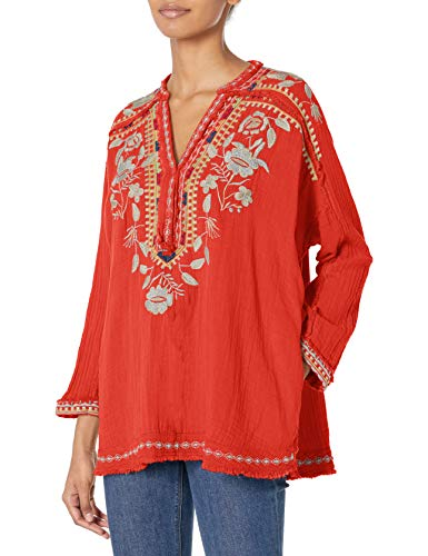 Pete & Greta by Johnny Was Damen Gauze Blouse with Embroidery Detail Hemd, Lava, Klein