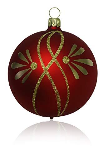 Kugeln rot matt mit Ranken 5 Stück d 6cm Christbaumschmuck Weihnachtsbaumschmuck mundgeblasen, handdekoriert Lauschaer Glas das Original