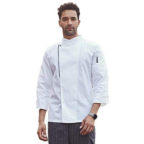 Kookjack met korte mouwen voor heren en dames, meerdere kleuren, wit, zwart, katoen, chefkok, vochttransport, geen verbleken XXXL wit
