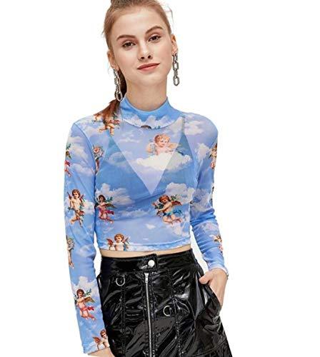 SweatyRocks Women's Long Sleeve Mock Neck Angel Print Sexy Sheer Mesh Crop Top Blue XL
