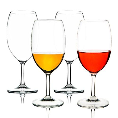 MICHLEY copas de vino, 100% Tritan-plástico Irrompible copas vino cristal, 55 cl copas de vino tinto grandes, BPA y EA gratis vasos de plastico Conjunto de 4