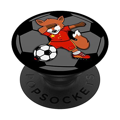 Dabbing Zorro Fox China Fútbol Bandera Sport Deporte PopSockets PopGrip Intercambiable