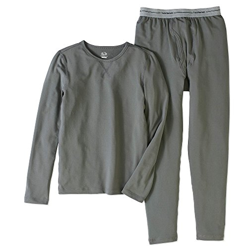 Fruit of the Loom Boys Performance Thermal Underwear Top and Bottom Set - Grey Flannel (14/16(XL))