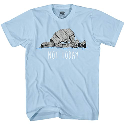 Star Wars AT-AT Not Today Humor Funny Hoth Adult Graphic T-Shirt(Light Blue,Small)