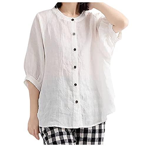 Julhold Blusa para mujer verano otoño manga corta linterna camisa algodón lino suelta botones en la parte delantera, blanco, XXXL