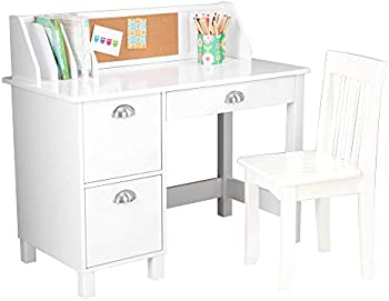 KidKraft Wooden Study Bulletin Board and Cabinets Desk with Chair