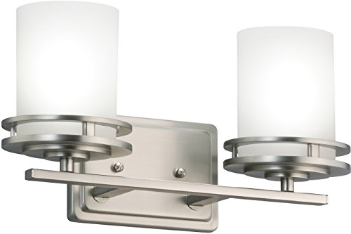 Kichler 5077NI Hendrik Vanity, 2 Light Incandescent 200 Total Watts, Brushed Nickel