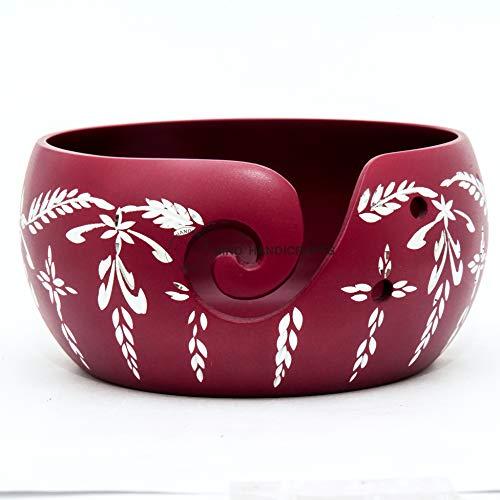 "Hind Handicrafts Premium Solid Handmade Crafted Metallic Finish Aluminium Portable Yarn Storage Bowl - Holder for Knitting Crochet Hook Accessories (Matte Pink, 6"" x 6"" x 3"")"