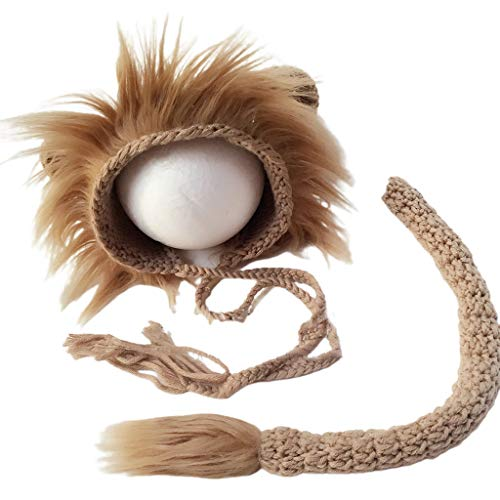 Xuebai 2 Piezas Baby Props Lion Hat Tail Set Disfraces de fotografía para recién Nacidos Trajes de Punto Sombrero de bebé