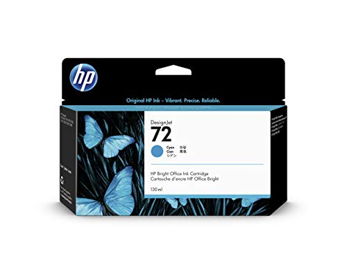 HP 72 C9371A Cartucho de Tinta Original HP DesignJet Cian, de 130ml, para Impresoras Plotter de Gran Formato T2300 eMFP, T1300, T1200, T1120, T1100, T1100 MFP, T795, T790, T770, T620, T610 y T600