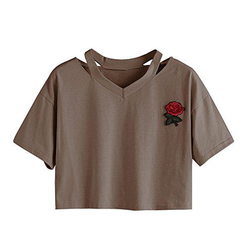 Oberteile Frauen Sommer, Ulanda Teenager Mädchen Mode Crop Top Sport V-Ausschnitt Shirt Bluse Damen Casual Rose Stickerei Kurzarm T-Shirts Hemd Tops Pullover Sale (Braun, S)