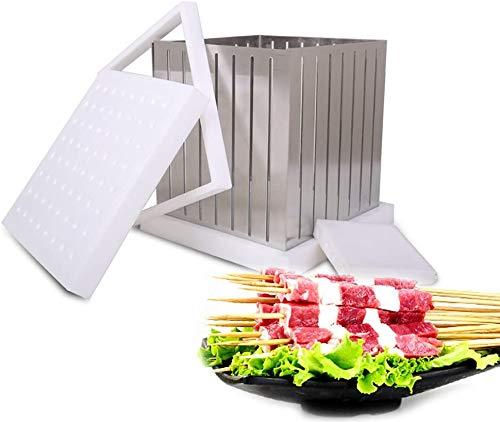NOBRAND BBQ 64 agujeros caja para hacer Kebab de acero inoxidable de uso rápido, brochette Express, pinchos de metal de alta eficiencia, máquina para hacer manualidades en el Reino Unido