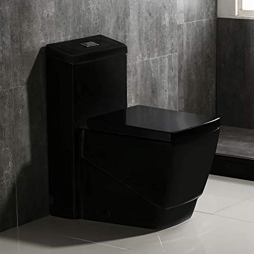 WoodBridge T-0020 Dual Flush Elongated One Piece Toilet with Soft Closing Seat, Deluxe Square Design | Black B0921