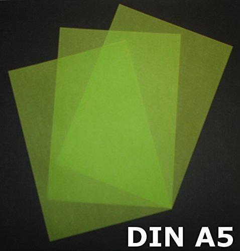 25 Blatt DIN A5 Transparentpapier Zanders Spectral 100g/m² Farbe giftgrün transparent exzellente Durchsicht, sehr gute Qualität, mögliche Verwendung: Einladungen, Visitenkarten, Einlegeblätter für Alben, Fotoalben, Gutscheine, Fensterbilder, Bastelarbeiten und vieles mehr