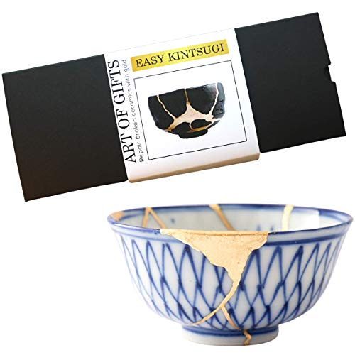Footricion Kintsugi Repair kit Gold Set - Premium Porzellan kleber wasserfest - XL kleber Gold Set - Easy Kintsugi Craft