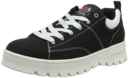 Skechers Damen Street Cleat Bring It Back Sneaker, (Black CanvasWhite Duraleather Trim Blk), 40 EU