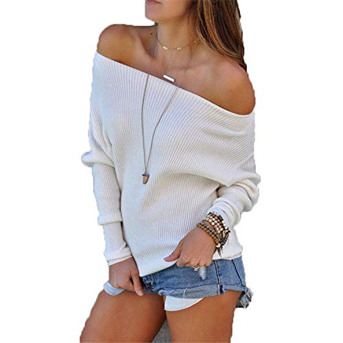 Fall Hot Women Casual Loose Long Sleeve Off Shoulder Knitted Sweater Tops Cardigan Outwear Coat Tops White L