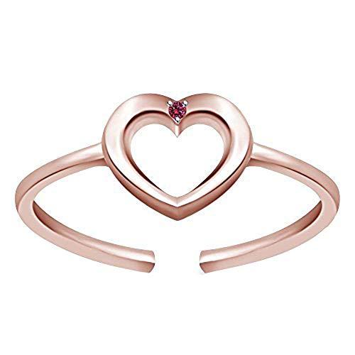 Anillo de dedo del pie ajustable con forma de corazón y diamantes de zafiro rosa en plata de ley 925