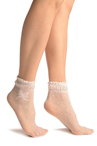 LissKiss White With Dots und Bow Comfort Top Ankle High Socks - Wei? Socken, Einheitsgroesse (37-42)