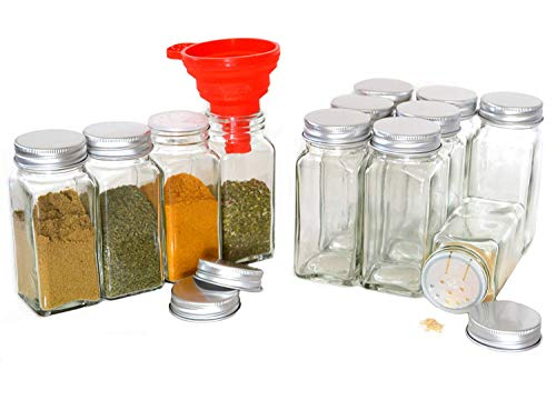 Clear Glass Spice Jars, 4 Oz Square with Silicon Funnel - Case of 12