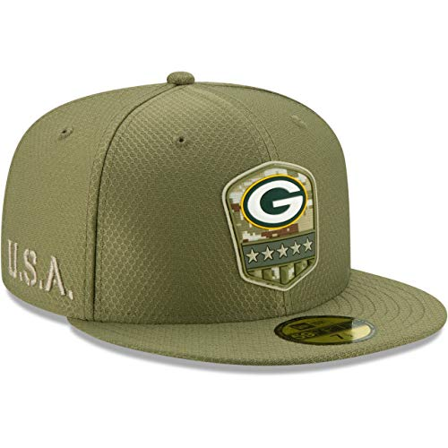 New Era Green Bay Packers 59fifty Basecap On Field 2019 Salute to Service Olive - 7-56cm