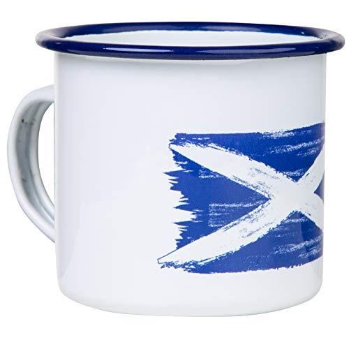 SCHOTTLAND - Hochwertige Emaille Tasse mit SCOTLAND Flagge, leicht und bruchsicher, für Camping und Outdoor Fans - von MUGSY.de