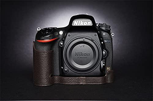 ULIN Estuche para Bolsa de cámara para Nikon D750 Cubierta de Medio Cuerpo de Cuero Genuino Hecho a Mano con Apertura de batería,Cocoa Brown