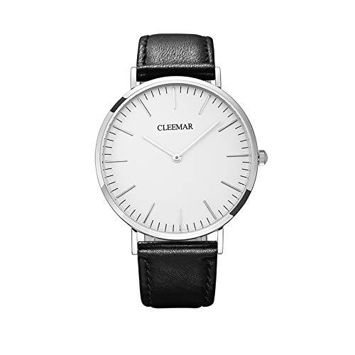 GOLD CARP Reloj de pulsera unisex para hombre y mujer, de cuarzo, correa de piel, minimalista, ultrafino, esfera grande, resistente al agua, para adultos, plata, oro rosa (plata, 38 mm)