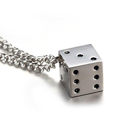 GuDeKe Schmuck Edelstahl Titan Silber Spielwürfel Würfel Anhänger Halskette Charm Herren Männer Kette