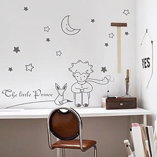 BBH.LEE El Principito Y El Zorro / Dibujos Animados / Habitación Niños Pintura Mural Decorativo Pegatinas De Pared / Pegatinas,Gris Claro,X-