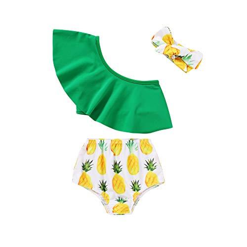 JEELLIGULAR Toddler Baby Girl Swimwear Bowknot Stripe Swimsuit Bathing Suit 2Pcs Bikini Set Outfits Summer (18-24 Months, Green, 18_Months)