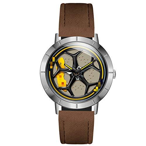 Relojes De Moda para Hombre, Reloj Deportivo De Cuarzo con Llanta para Coche Deportivo, Reloj Giratorio Creativo De Cuero De 360 Grados 25.8cm Negro Plata