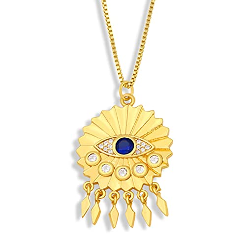 SALAN Collar De Cadena De Oro para Mujer, Collar con Colgante De Piedra con Borla Triangular, Circonita Cúbica, Joyería Turca, Regalos