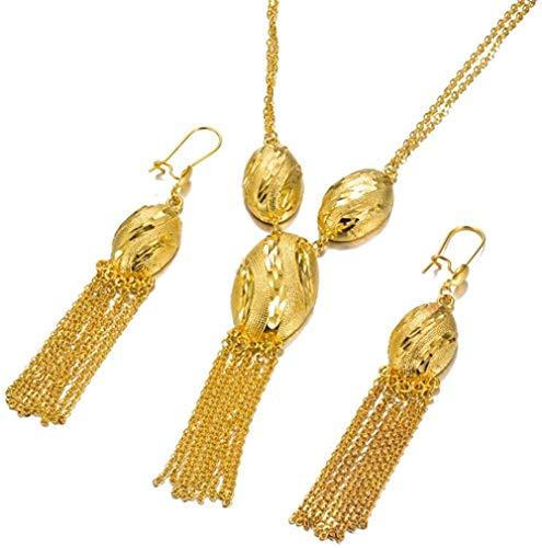 NC134 Conjunto de joyería Nupcial de Boda etíope de Lujo, Collar/Pendiente de Color Dorado de 24 k, India/Africana/Dubai/Nigeria/Colgante árabe