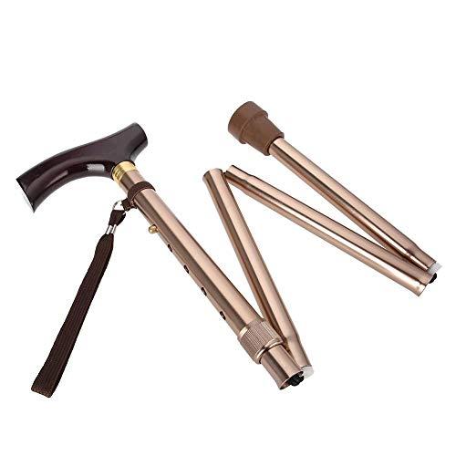 Bastón plegable, se puede plegar en 4 secciones, mango de madera plegable para ancianos, bastón guía, bastón ciego, muleta, bronce, base antideslizante ✅