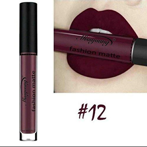 Huihong MISS YOUNG 12 Farben Samt Lippenstift Feuchtigkeitscreme Schönheit Make Up Flüssigen Lippenstift Lang Anhaltende, Kissproof, Wasserdicht (Sexy-12)