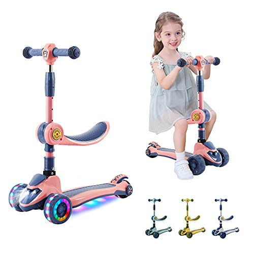 2in1 Kick Scooter for Kids with Removable Seat & LED Headlight & 4-Level Adjustable Handlebar & Foldable Design & Wide Standing Board Outdoor Activity for Boys/Girls Ages 2-12 Year Old (Pink)