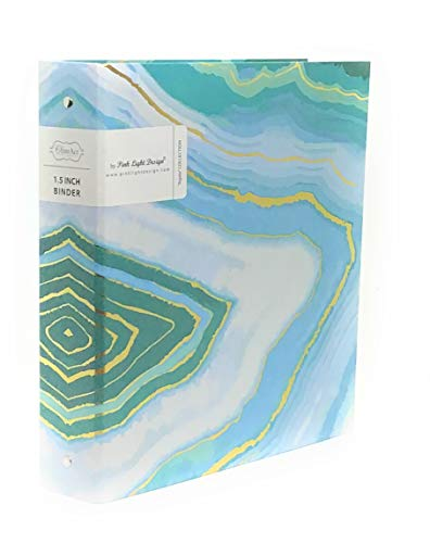Pink Studio 1.5' 3 Ring Fashion Binder with Hard Cover (Blue  Marble)