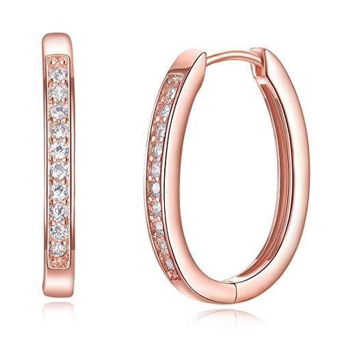 MapleMiss Anillos de oído - Pendientes del aro de Huggie de Oro Rosa de Diamantes Pendientes de Mujeres Pendientes de joyería