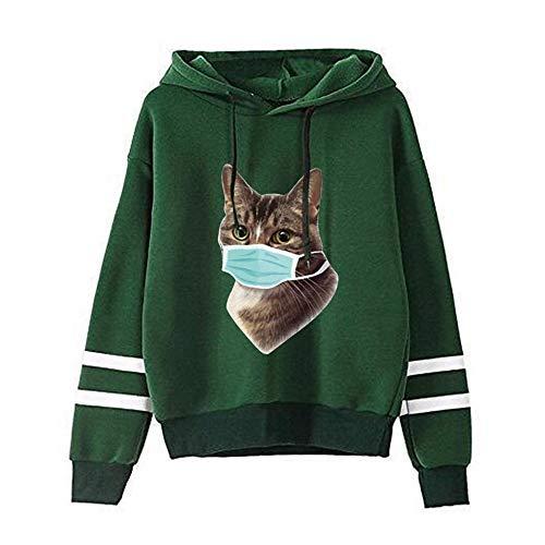 YIKEYO Sudaderas Adolescentes Chicas Sudadera Mujer Tumblr Ropa de Tops Camiseta de Manga Larga Blusa con Estampado de Gato