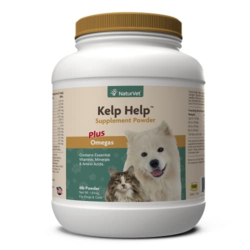 NaturVet Kelp Help Plus Omegas Skin and Coat Supplement for Dogs and Cats, Powder, Made in the USA, 4 Pounds