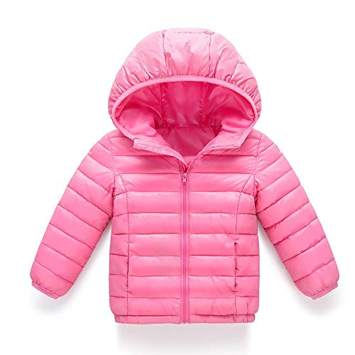 Big Save! Franterd Little Girls Boyd Light Down Jacket, Kids Windproof Zipper Cable Hooded Coat Wint...