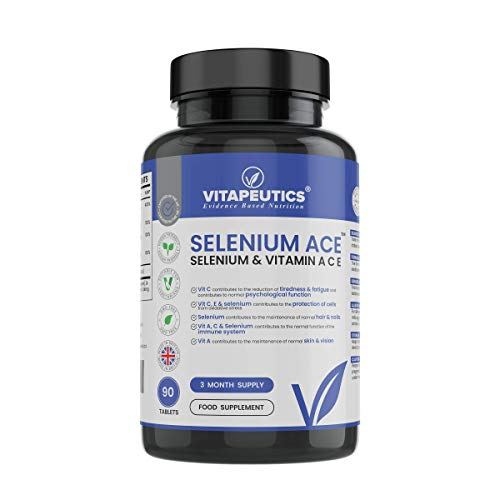 Selenium Ace – Selenium & Vitamin A C E - 90 Vegan Tablets (3 Month Supply) - Made in The UK