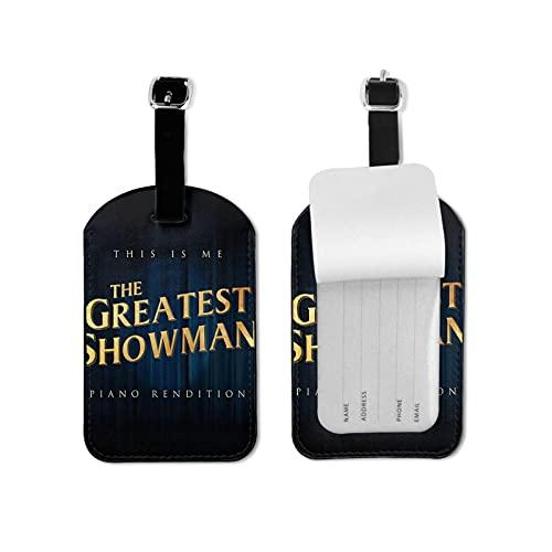 Etiquetas para equipaje de viaje de The Greatest Showman para viajeros inteligentes, mejor para evitar la pérdida de bolsas y maletas, piel sintética de microfibra de 2.7 x 4.3 pulgadas