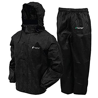 FROGG TOGGS Men's Classic All-Sport Waterproof Breathable Rain Suit, Black Jacket/Black Pants, Medium